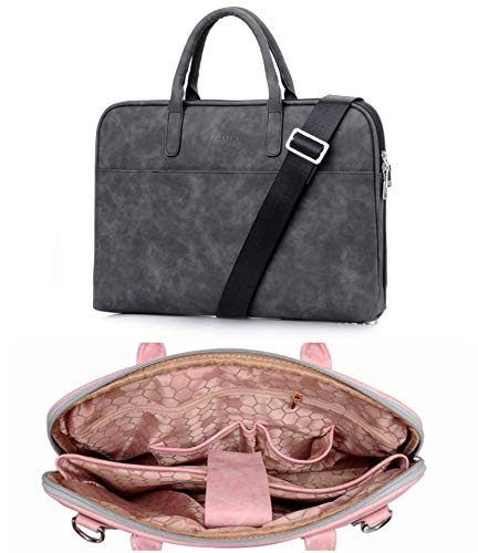 Fashion Pu Leather Laptop Bags for Women MacBook Air 13 Inch Casual Portable Waterproof Notebook Bag,Black Luxury,13.3 Inch