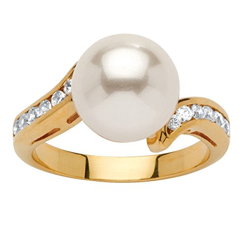 Palm Pearl Ring (Palm Beach Jewelry Simulated White Pearl with Cubic Zirconia Accents 18k Yellow Gold-Plated Ring (9.5mm) Size 8)