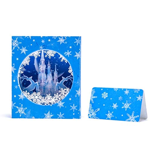 Holiday Cards - Handmade 3d Pop Up Ice Castle Snowflake Deer Greeting Holiday Card Merry Christmas Gift W15 - Greetings Unicorn Bulk Assortment Blank Kids Cards Paper Hallmark Variety Christma -