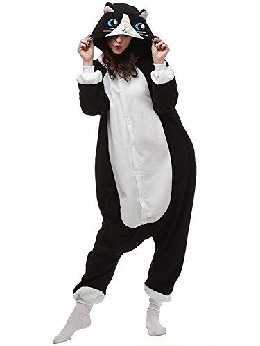 Comfy New Adult Animal Onesies Cat Cosplay Costume Jumpsuit One Piece Halloween Pajamas for Adults and Teens Black Small -