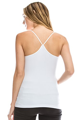 (Kurve American Made Y-Back Spaghetti Strap Basic Cami, UV Protective Fabric UPF 50+ (Made with Love in The USA) White )