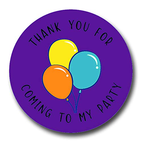 40mm Mixed Balloon *Thank You For Coming To My Party* Round Stickers for Party Bags /& Sweet Cones 24 x Stickers