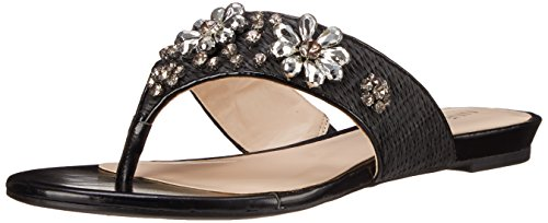 Nine West Women's Oxley Fabric Dress Sandal, Black/Black, 7 M US (Nine West Flat Sandals Women)