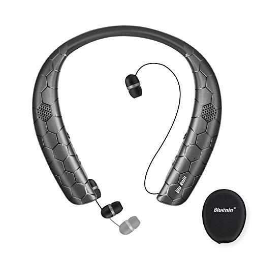 Bluetooth Headphones Speaker 2 in 1,Bluenin Neckband Wireless Headset with Mic Sweatproof Wearable Speaker Bluetooth 5.0…