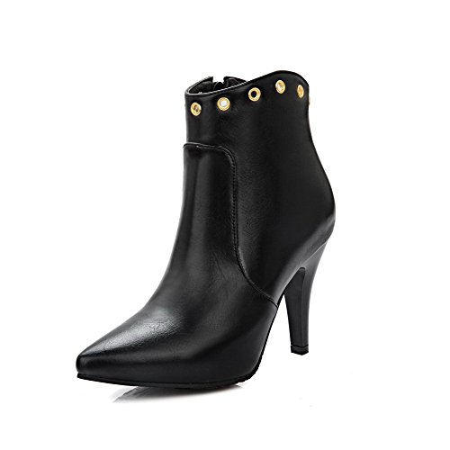 High Zipper Women's Allhqfashion PU Boots high Heels Solid Black Ankle wBWBnx