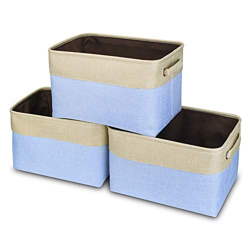 Awekris Large Storage Basket Bin Set [3-Pack] Storage Cube Box Foldable Canvas Fabric Collapsible Organizer with Handles for Home Office Closet, Grey/Tan (Light Blue)