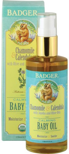 Badger Baby Oil Glass Bottle, 4 Ounce