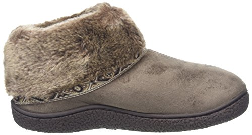 Isotoner Pillowstep Bootie with Fur Cuff and Tape Trim, Zapatillas de Estar por Casa para Mujer Beige (Taupe)