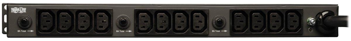 PDUH30HV 30A 12 ft 1U Rack-Mount Power L6-30P Cord 10 Outlets 208//240V Tripp Lite Basic PDU C13