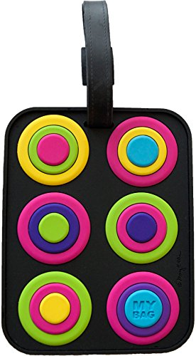 Circles 3-D Luggage Tag Large Heavy Duty ID Travel Bag Tag with...