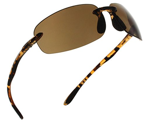 Fiore Island Sol Non-Polarized Sunglasses Rimless TR90 for Men and Women [Tortoise - ()