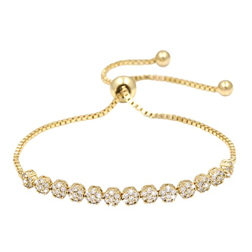 (WeimanJewelry Luxury 18K Gold Plated CZ Flower Adjustable Bracelet with Sparkling White Cubic Zirconia Stones)