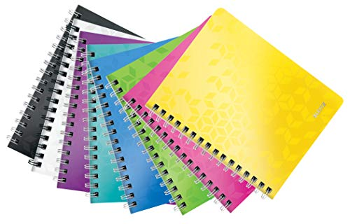Leitz WOW - Cuaderno, 80 hojas, Colores Surtidos, A5, 6 unidades