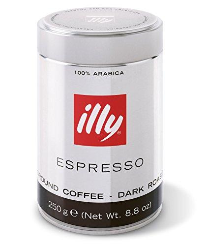 Illy Espresso Ground Coffee, Dark Roast (dunkle Röstung), gemahlen, Dose mit silber/schwarzer Banderole, 1er Pack (1 x 250g Dose)