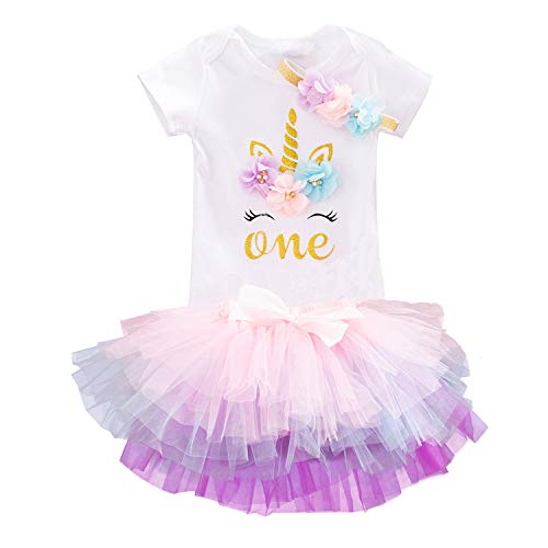 TTYAOVO Baby Girl Newborn 3Pcs My 1st Birthday Outfits Skirt Set Romper+Tutu Dress+Headband Clothing Set (1 Years, 1peach)]()