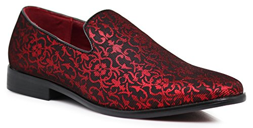 Enzo Romeo Spg Men's Vintage Satin Silky Floral Print Dress Loafers Slip On Shoes Classic Tuxedo Dress Shoes (9, Red)