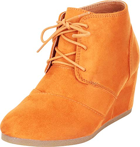Cambridge Select Women's Closed Round Toe Lace-Up Wedge Ankle Bootie (8 B(M) US, Maple IMSU)