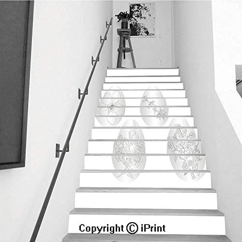 Stair Stickers Wall Stickers,13 PCS Self-Adhesive,Stair Riser Decal for Living Room, Hall, Kids Room,Easter Egg with a Pattern of Colors for Coloring