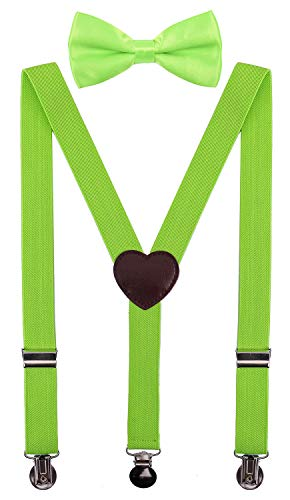 PZLE Kids Bow Tie and Suspenders Set Adjustable 24 Inches Neon -