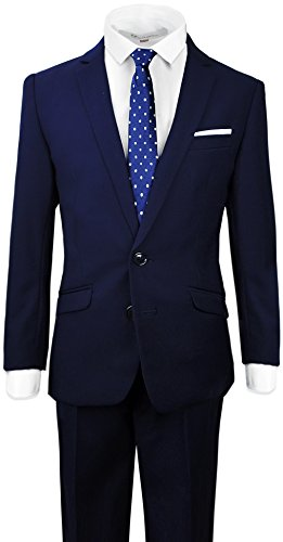 Black n Bianco Signature Boys' Slim Fit Suit in Navy Size 7 -