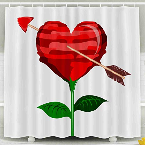 (Shorping 78x72 Shower Curtain,Kids Shower Curtain, Heart Shaped Flower Cupid Arrow Valentine Day Waterproof Decor Bathroom Set with Hooks)