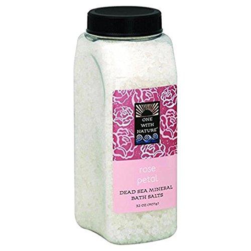 Spa Salts Bath Rose - ONE WITH NATURE Bath Salt Rose Petal Spa, 32 Ounce