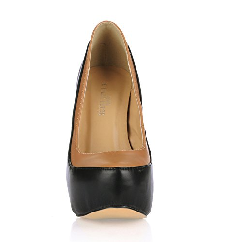 Unica donna autunno senso riformatore cena cena cena su una terra rosso calzature donna OL in ammenda a tacco alto scarpe, Nero + pelle tono di colore 482dad