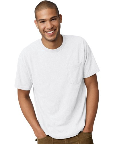 (Men's 5.2 oz Hanes COMFORTBLEND ECOSMART Pocket T-Shirt White S)