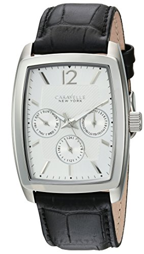 Caravelle New York Men's Quartz Stainless Steel and Leather Casual Watch, Color:Black (Model: - Watch Multifunction Bulova Steel Stainless