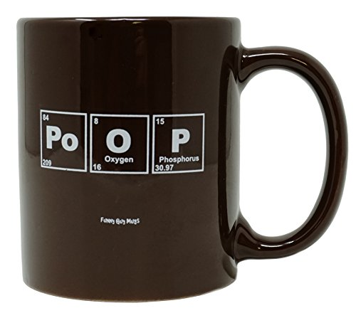 Funny Guy Mugs Periodic Poop Ceramic Coffee Mug, Brown, 11-Ounce