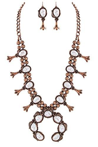 Jayde N' Grey Navajo Southwestern Squash Blossom Turquoise Necklace (White Large Size) (Stunning Turquoise Necklace)