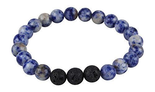 Mana Vibes Designed Lava Rock and Blue Sodalite Essential Oil Diffuser Bracelet, Essential Oil Jewelry