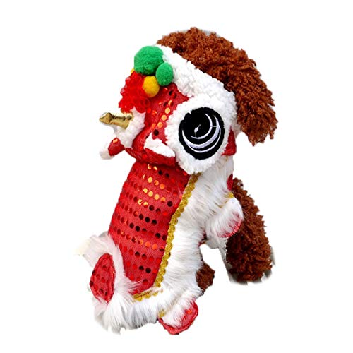 Costumes For Halloween Dances (WORDERFUL Dog Chinese New Year Costume Cute Lion Dance Pet Costume with Red Sequins New Year Cat Dog Clothes Hoodies Coat for Small Dogs (XXL,)