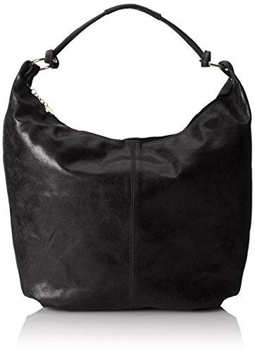 CTM Mujeres Bolsa de hombro, bolso de cuero, 45x35x4cm, cuero genuino 100% Made in Italy Negro (Nero)