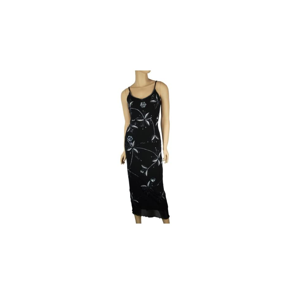 Alivila.Y Fashion Spaghetti Strap Handsewn Sequins Beads Flower Women's Fashion Party Dance Dress 335 Black One Size Fits Size 6 to 16 Clothing