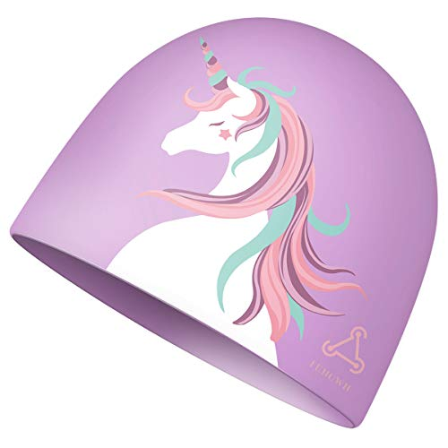 Funown Swim Cap for Women Long Hair Curly Hair Solid Silicone Waterproof Bathing Unicorn Swimming Caps for Girls (Purple)