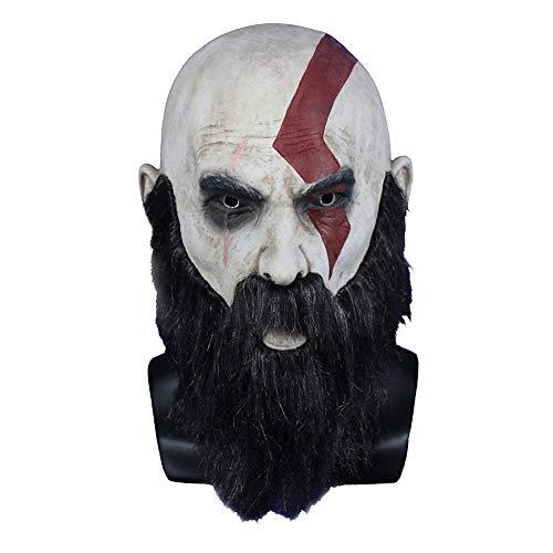 Moniku Halloween God of War Kratos Sparta Mask Faux Fur Masks ()