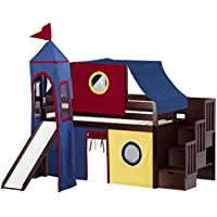 Jackpot Castle Low Loft Stairway Bed in Cherry with Slide, Red and Blue Tent and Tower