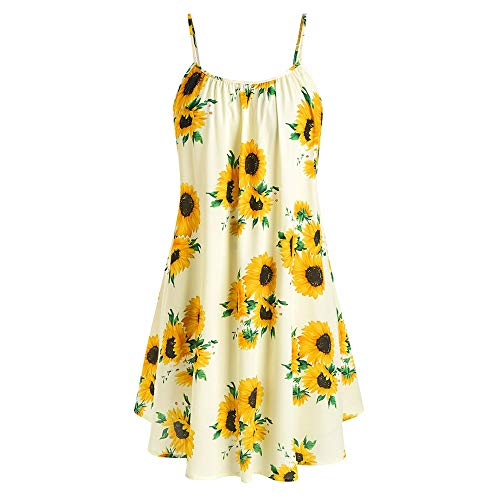 Missroo Plus Size Sunflower Print Dress with Front Knot Top Yellow ()