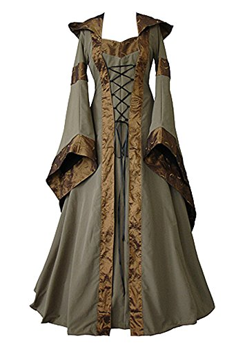 Medieval Plus Size Costumes (Womens Halloween Cosplay Costume Renaissance Medieval Irish Lace Over Dress Gothic Dress)