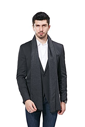 FULLRON Men Winter Scarf Long Cashmere Scarves, Grey Cotton Scarf for Men by FULLRON (Image #1)