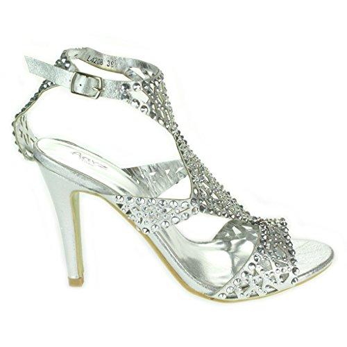 Mujer Señoras Multicolor Diamante Separar Tacón alto Punta abierta Noche Boda Fiesta Paseo Nupcial Sandalias Zapatos Talla Plata