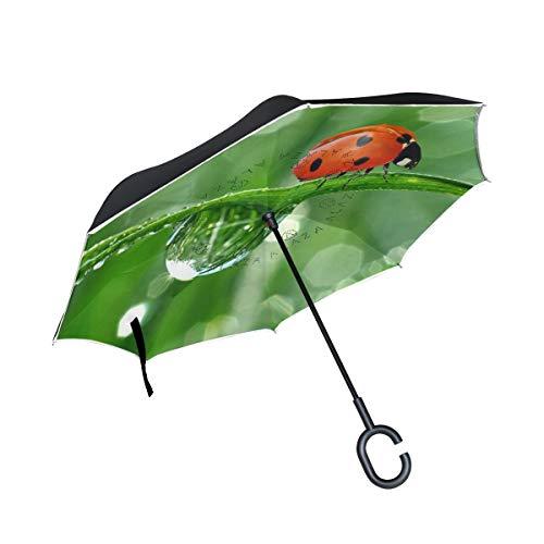- Reverse Umbrella Ladybugs Cute Inverted Umbrella Reversible for Golf Car Travel Rain Outdoor Black