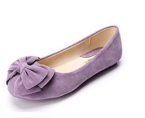 Scarpe Basse A Tacco Alto Senza Chiusure Da Donna A Punta Arrotondate Color Viola Pallido