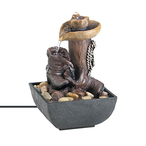 Tabletop Water Fountains, Waterfalls Stone Indoor Water Fountain, (Lighted Table Fountain)