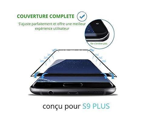 SAGPAD Verre trempé Samsung Galaxy S9 Plus Noir intégral 3D incurvé Garanti  2 Ans- Marque 4d6a6b0e0abc