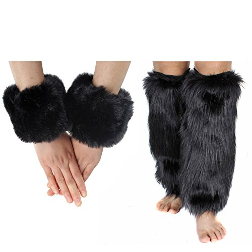ECOSCO Faux Fur Wrist Cuffs Warmer Autumn Winter Cold Weather (40cm leg warmer+wrist cuff black)]()