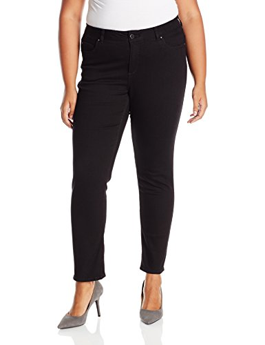 (Rafaella Women's Plus Size Weekend Skinny Leg Slim Fit Jeans, Black, 16W)