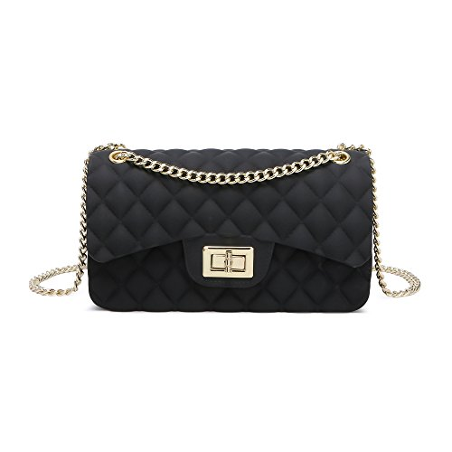 Women Shoulder Bag Jelly Clutch Handbag Quilted Crossbody Bag with Chain (Black S)