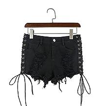 Black Ripped Short Jeans High Waisted Tassel Elastic Lace Up Bandage Shorts